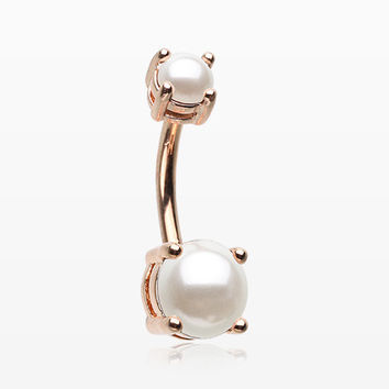 Rose Gold Pearlescent Shine Prong Set Belly Button Ring