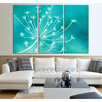 Large Wall Art Canvas Print Dandelion Turquoise Background Canvas Printing
