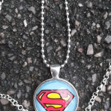 Superman necklace, Superman key chain, comic book jewelry set,Superhero jewelry,Superman,Batman
