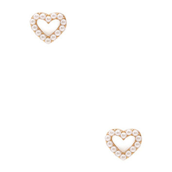 FOREVER 21 Faux Pearl Heart Studs Gold/Cream One