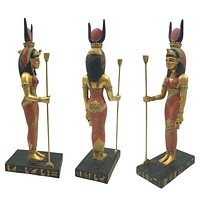 Isis Egyptian Mother Goddess Standing Holding Staff Sculpture 9.25H