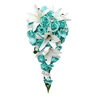Elegant Spa Aqua Cascade Bouquet - Quality Silk Roses with Real Touch Calla lilies and Lilies