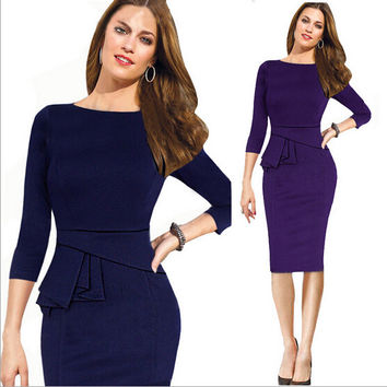 Women's Modest & Elegant Knee-Length Pencil Dress