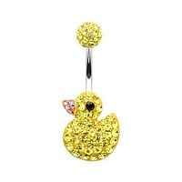 Cute Rubber Duck Multi-Sprinkle Dot 316L Surgical Steel Belly Button Ring