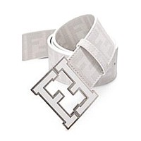 Men's tide brand fashion Fendi Zucca belt belt F White