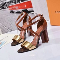 LV Louis Vuitton Sandals Shoes 100mm High Heel Cow Leather Casual Women Slippers