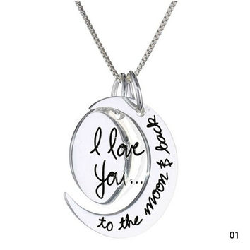 """Fashion Vintage New """"I LOVE YOU TO THE MOON AND BACK """" Necklace Pendant = 1946727748"""