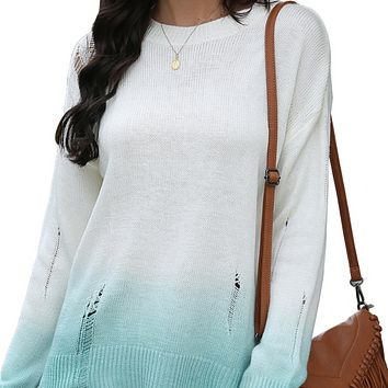 New women's long-sleeved blouse with holes and gradient cutout sweater