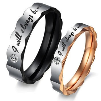 """(Male + Female)""""I will always be with you"""" W/ CZ Stone Faceted Edge 316 l Stainless Steel Titanium Wedding Band Anniversary/Engagement/Promise/Couple Ring Best Gift! = 1929605828"""