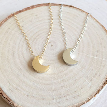 Tiny Gold or Silver Moon Charm, Perfect for Layering!  Dainty 14k Gold Filled or Sterling Silver Chain, Gifts Under 20, Crescent Moon Charm