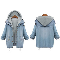 2 Pcs Retro Denim Jacket Hooded with Vest for Women
