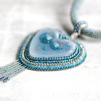 #Teal  #BeadEmbroidered #GlassHeart #Necklace #Turquoise #FusedGlass #BlueNecklace, #GlassHeart #Mint #StatementNecklace