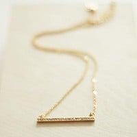Dainty Pave Bar Necklace