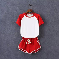 Block T shirt + Shorts Two Piece Set