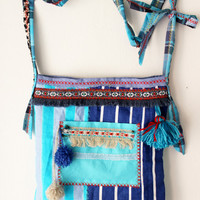 Boho Crossbody Bags, Aztec Hippie Bags, Blue Shoulder Bags, Recycled Bags, Cross Bags, Handmade Bags, Fringe Hippie Bags, Unique Bag