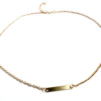 """Setting The Bar"" Gold Necklace"