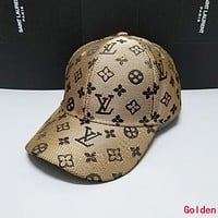 LV Louis Vuitton Summer Stylish Women Men Sports cap Baseball Cap Hat Golden
