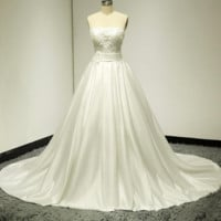 Strapless Pearl Beaded Satin Wedding Gown Bridal Dress