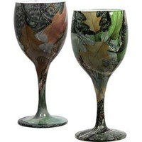 River's Edge Camouflage Wine Glasses - Set of 2