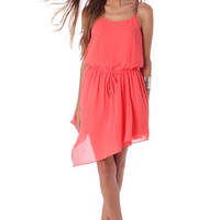 Coral chiffon skater dress with chain straps