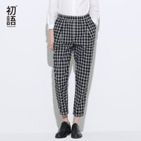 Toyouth 2017 New Arrival Women Spring Fashion Loose Plaid Trousers Female Elastic Waist Ankle-Length Pants