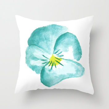 Watercolour pansy, teal flower cushion, throw pillow cover, home decor living room sofa cushion, illustrated pillow cover.