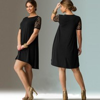 6XL Big Size Dress 2017 Summer Dresses Plus Size Women Lace Dress Short Sleeve Casual Dress Plus Size Women Clothing Vestidos