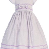 Lilac Cotton Seersucker Spring Dress with Ribbon Trim (Baby, Toddler & Little Girls Sizes)