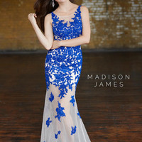 Madison James 15-112 Sheer Illusion Lace Prom Dress