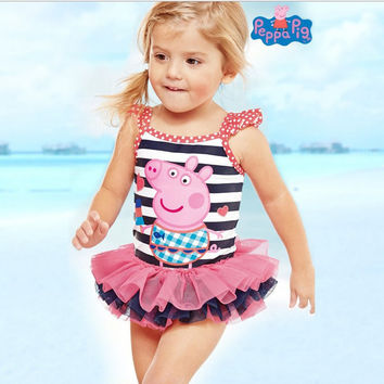 new model cute baby girl swimwear one piece with Flamingos pattern 1-12Y girls swimsuit kid children swimming Suit CH17 CF