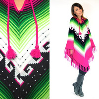 bohemian TRIBAL SCROLL southwestern neon PONCHO fringed cape coat, one size fits most