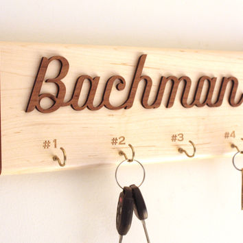 Personalized Wall Key Holder - Wooden Key Holder - Wooden Key Rack