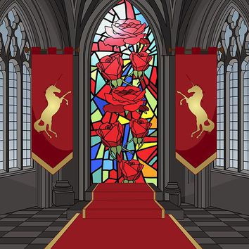 Printed Stained Glass Interior Medieval Castle Printed Backdrop - 6880