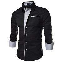 Men Striped Dress Shirts Formal Fashion Long Sleeve Brand Business Men Casual Shirts