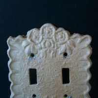 Vintage Double  Lightswitch Cover Metal Floral Design Shabby Chic Cottage 1950s Distressed Rustic