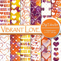 """Hearts watercolor digital paper """"Vibrant Love"""", scrapbook, watercolor background, hearts clipart pattern, invitations cards collage"""