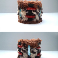 Fur tribal cuff, leopard bracelet, leather wristband, textile jewelry, coral and mother of pearl