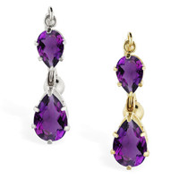 14K Gold reversed belly ring with double Amethyst teardrop dangle