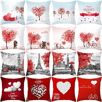 2020  Valentine Day Decoration Cushion Covers Pillowcase Cushions for Sofa Polyester Pillowcover Valentine Gift Home Decor 45*45