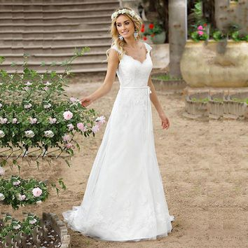 LORIE Lace Wedding Dresses 2019 Appliqued with Lace A Line Floor Length Sweetheart A-Line  Princess Wedding Gown Bridal Gowns