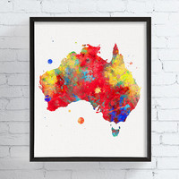 Australia Map, Australia Print, Australia Poster, Watercolor Map, Map Wall Decor, Travel Art, Countries, Framed Art, Custom Colors, Maps