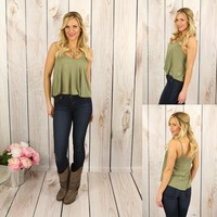 Easy as Can Be Tank in Olive Green