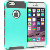 Mint / Grey Hybrid Hard TPU Honeycomb Rugged Case Cover for Apple iPhone 6 Plus 6S Plus (5.5)