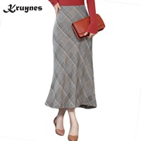 2018 New Women Fashion Autumn Winter Skirts Casual Wear High Waist Slim Mermaid Skirts Elegant Plaid Long OL Pencil Skirt