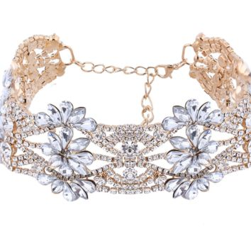 'Bella' Crystal Choker - Gold