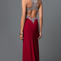 Elizabeth K Formal Long Gown With Jeweled Bodice
