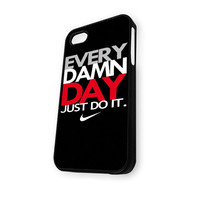 Black EVERY DAMN DAY Just Do It Nike M Revisi iPhone 4/4S Case