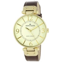 Anne Klein 10-9168IVBN Women's Beige Dial Brown Leather Strap Gold Plated Stainless Steel Watch