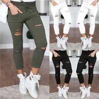 2018 Casual Solid High Waist Skinny Hollow Out Jeans Woman Plus Size TrousersPencil  Unique Design Women Jeans