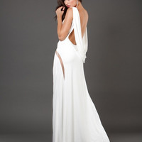 Jovani 73893 Limited Edition SZ 0 White Cowl Back Jersey Prom Dress Evening Gown